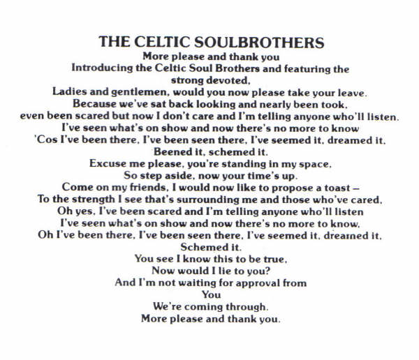 Celtic Soul Brothers Lyrics
