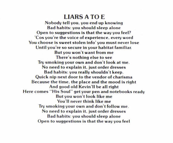 Liars A To E Lyrics