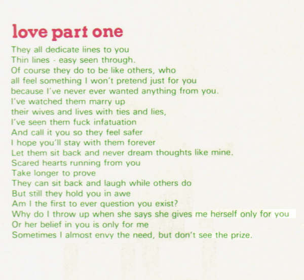 Love Part One Lyrics