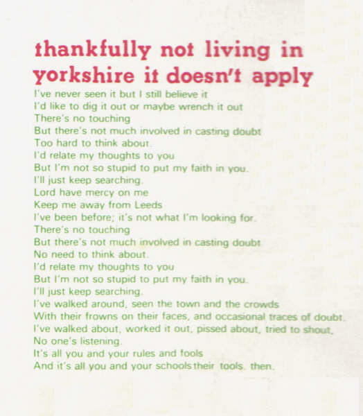 Thankfully Not Living In Yorkshire It Doesn't Apply Lyrics
