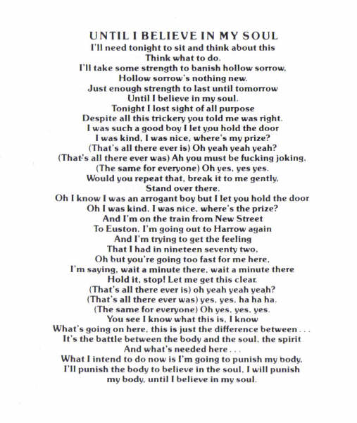 Until I Believe In My Soul Lyrics